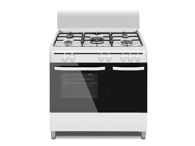 Cocina de gas 5 quemadores vitrokitchen cb96pbb blanco - Cocinas de gas natural con horno ...