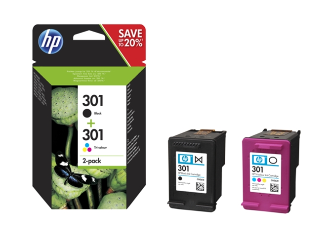 Pack 2 cartuchos tinta HP 301 negro + 301 tricolor (N9J72AE) — 2 Cartuchos | Multicolor | 165 Páginas (color), 190 Páginas (negro)