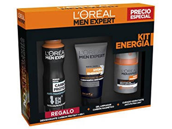Pack L'OREAL Men Expert Hydra Energetic Anti-Fatiga 24H 50 ml + Gel Limpiador Carbon Magnetico 150 ml + Desodorante Carbon Protect 4En1 150 ml