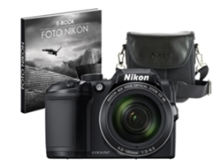 Cámara Bridge NIKON Coolpix B500 + Estuche + Libro 16MP VR, WiFi BT NFC CMOS-W40X-3'' Full HD