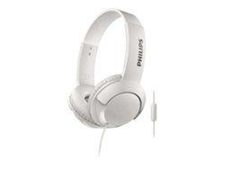 Auriculares con cable PHILIPS Bass+ (Over ear - Micrófono - Atiende llamadas - Blanco) — Over Ear | Micrófono | Responde llamadas