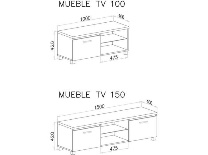 Mueble De Tv Bogar 1muebletv150bl 150x40x42cm Melamina Blanco Worten Es