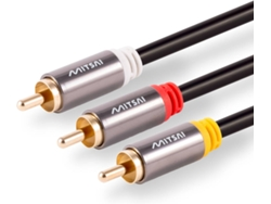 Cable Vídeo MITSAI 3RCA (Macho-Macho) 1,5M Gold