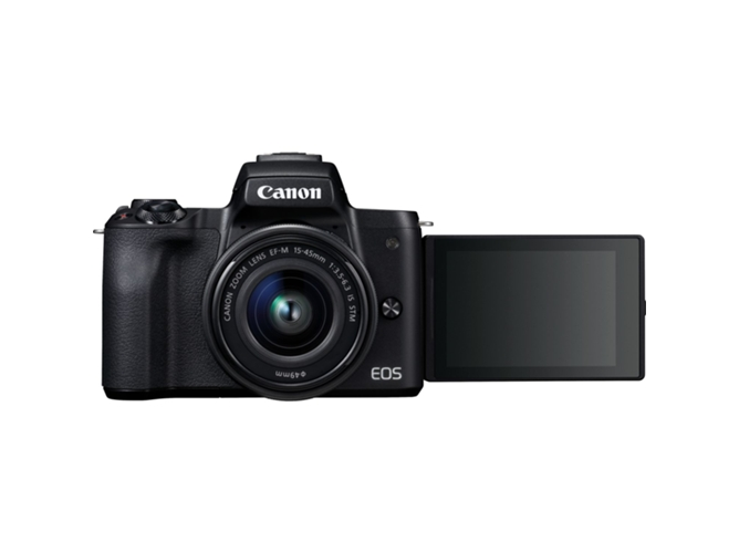 Cámara Mirrorless CANON M50+EF-M 15-45MM IS (Negro - 24.1 MP - Sensor: APS-C - ISO: 100 a 6400) — Cuerpo + 1 Objetivo EF-M 15-45MM