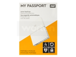 Disco HDD Externo WESTERN DIGITAL My Passport (Blanco - 4 TB - USB 3.0) — Backup automático