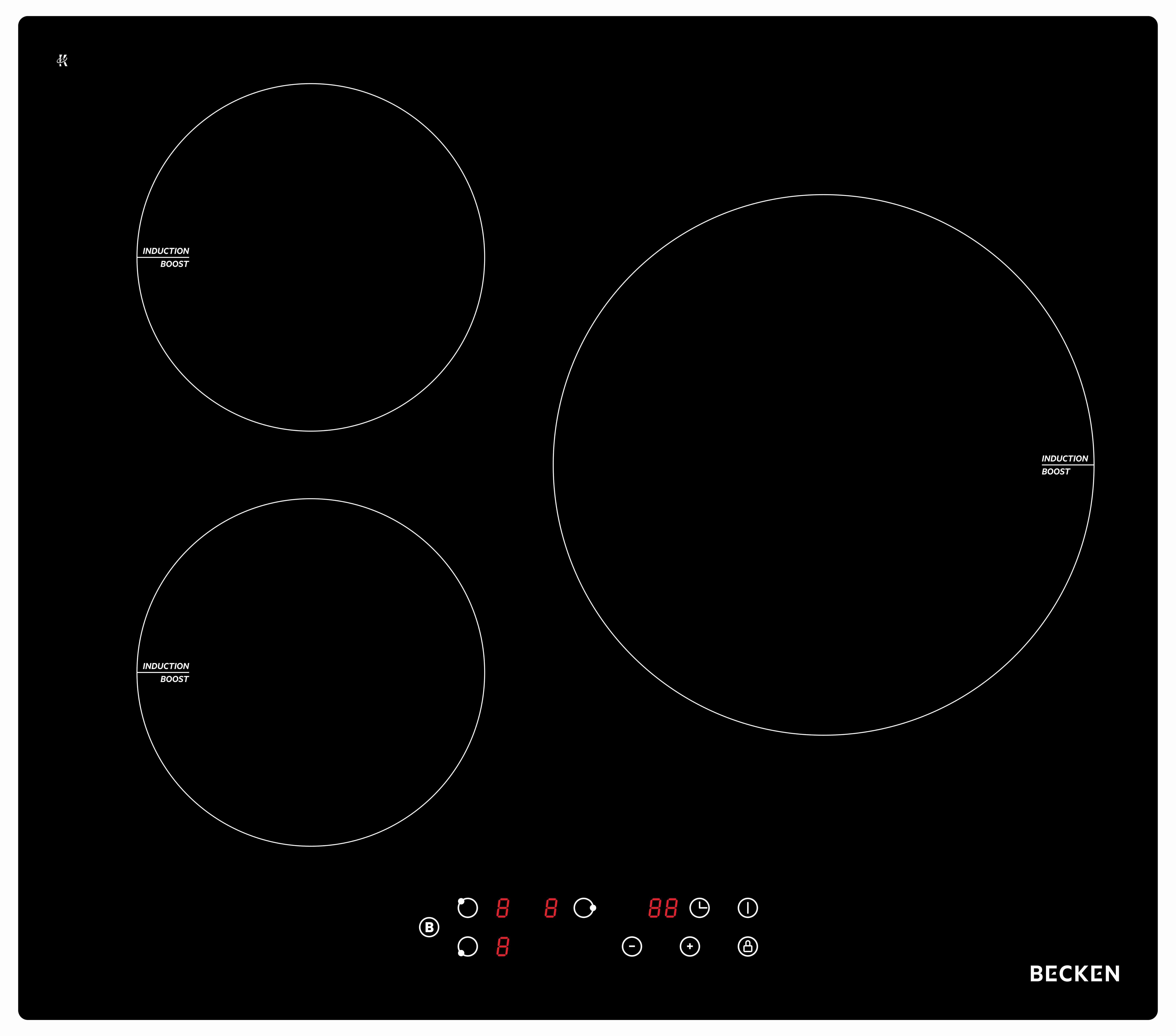 Placa Inducción BECKEN 3Z BIH3301 3 Focos Touch Control