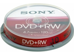 Dvd+RW SONY 4.7GB SPINDLE CAKE 10