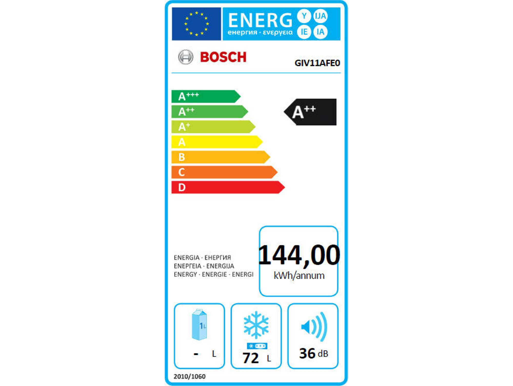 Congelador Vertical Integrable BOSCH GIV11AFE0 (Frost Free - 71.2 cm - 72 L - Blanco)