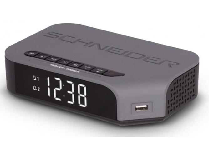 f2b0f1850a0d Radio Despertador SCHNEIDER SC310ACL (Gris - Digital - FM - Corriente -  Alarma Doble)