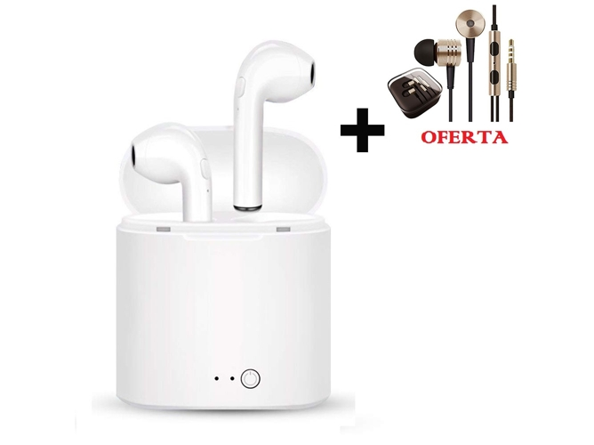 Auriculares Bluetooth True Wireless KLACK I7 + Auriculares Jack 3.5 (Dorado)
