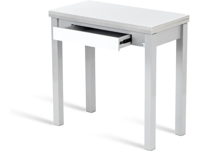 Mesa de Cocina PORTUS Libro (Blanco - 80 x 40 cm - Vidrio)