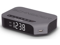 Radio Despertador SCHNEIDER SC310ACL (Gris - Digital - FM - Corriente - Alarma Doble) — Digital