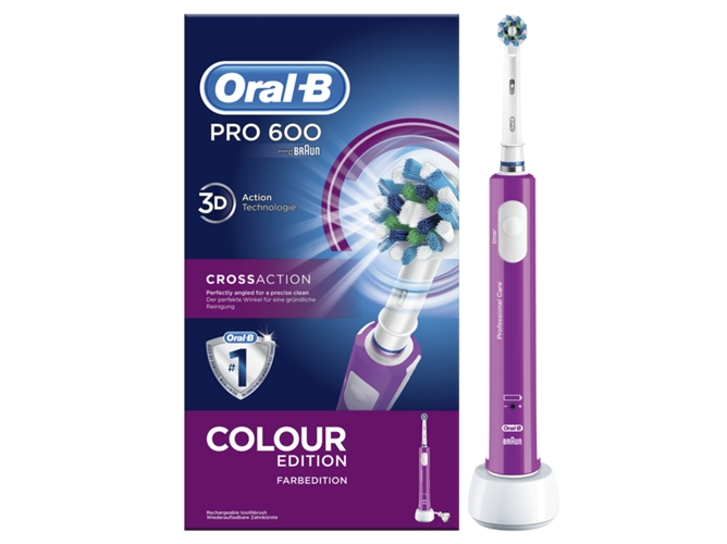 Cepillo Dental Oral-B PRO600 Morado Cross Action - WORTEN 276693974cf6