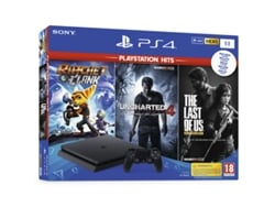 Consola Sony PS4 Slim 1TB + Pack Hits (Ratchet / Uncharted 4 / Last Of Us) — 1 TB