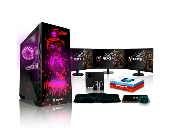 Pack Gaming FIERCE Gobbler - 864443 (Desktop Gaming + 3 Monitores 21.5'' + Altavoces 2.1) — Windows 10 Home | WiFi