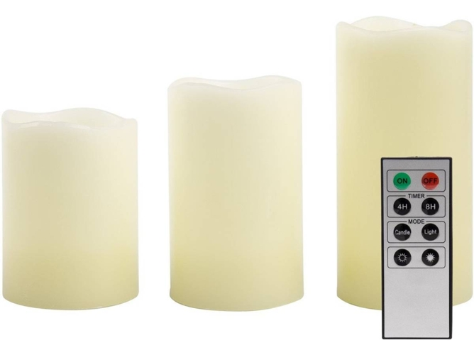 Pack 3 Velas LED LEDKIA Cera Natural 23Y (3x0.6 W)