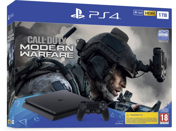 Consola PS4 + Juego Call of Duty: Modern Warfare 2019 (1 TB - Negro)