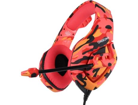 Auscultadores Con Cable ONIKUMA K1B (On Ear - Micrófono - Rojo)